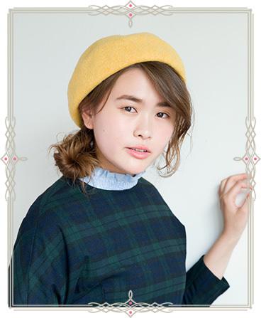 ベレー帽がアクセント!フレンチガール風ヘアスタイル