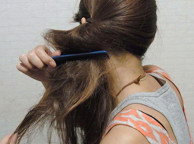 髪の毛の量が多くても安心!サイドお団子アレンジ2