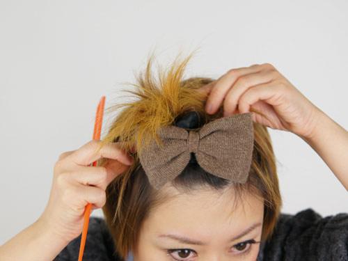 リボンがかわいい♪華やか前髪アレンジ6
