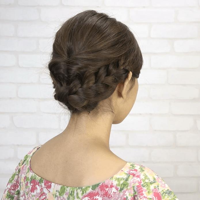 くるりんぱ+三つ編み!簡単華やかまとめ髪SIDE