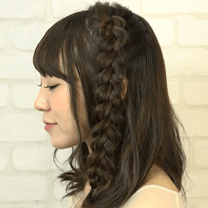 ミディアムヘアにおすすめ!ミックス編みアレンジSIDE