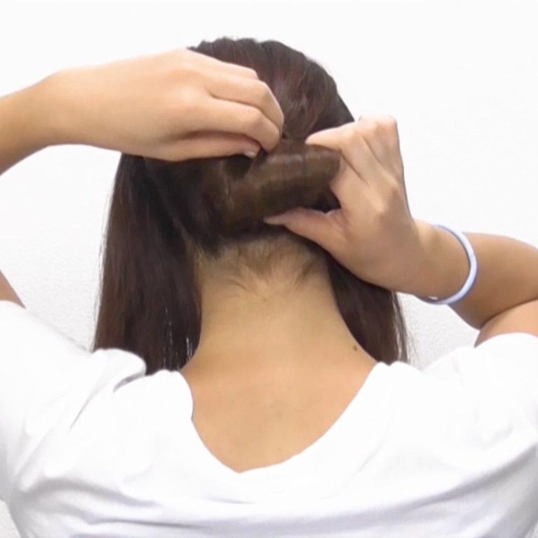 お団子×ロープ編み!華やかなオシャレまとめ髪☆1