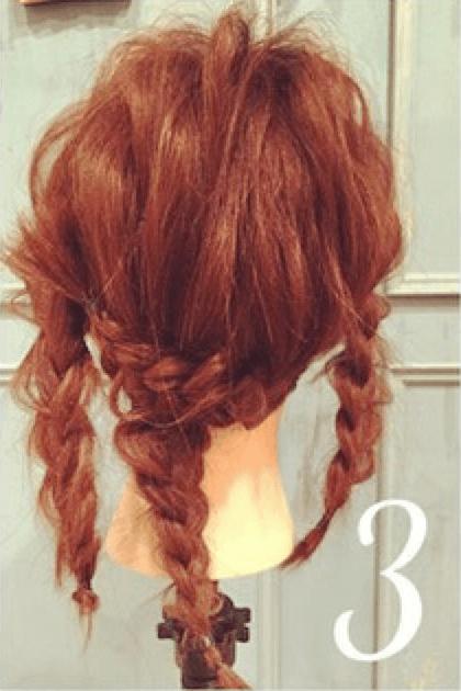 三つ編みだけで出来るオシャレまとめ髪☆3