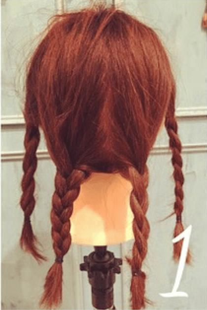 三つ編みだけで出来るオシャレまとめ髪☆1