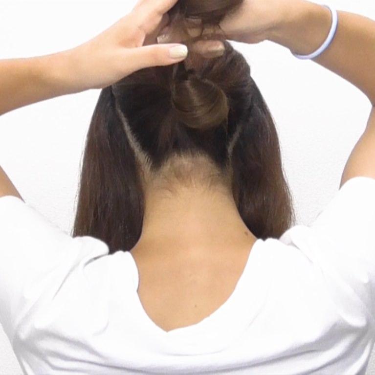 お団子×ロープ編み!華やかなオシャレまとめ髪☆2