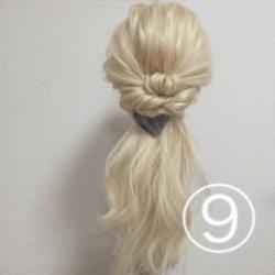 髪を紐と同じように結んで作る!簡単ハーフアップTOP