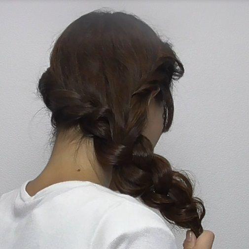 スッキリ簡単ロープ編みのサイド寄せヘア☆5