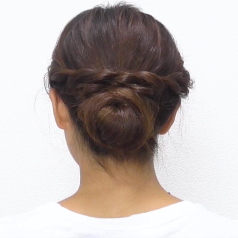 お団子×ロープ編み!華やかなオシャレまとめ髪☆完成
