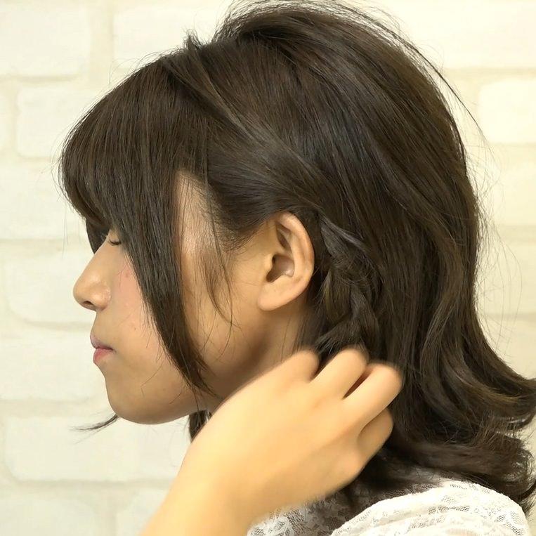 忙しい朝でも超簡単!サイド三つ編み×ローポニー☆1