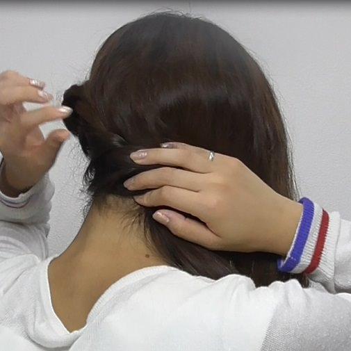 スッキリ簡単ロープ編みのサイド寄せヘア☆2