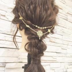 後ろ姿も可愛く☆バックカチューシャのロープ編みヘアTOP
