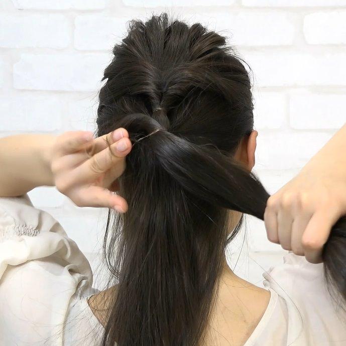 黒髪でもおしゃれで可愛い!くるりんぱハーフアップ☆3