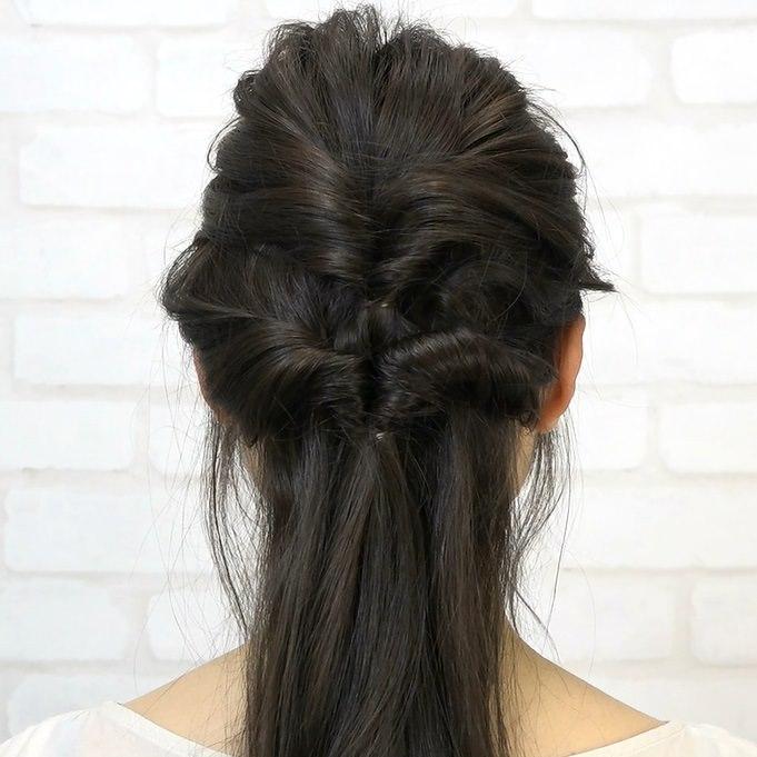 黒髪でもおしゃれで可愛い!くるりんぱハーフアップ☆back
