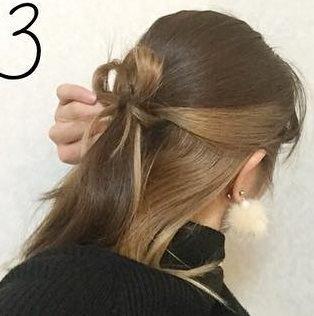 ミディアムヘアで作る!リボンハーフアップ♪3