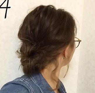 ゴールドのピンが映える☆簡単に出来るまとめ髪4
