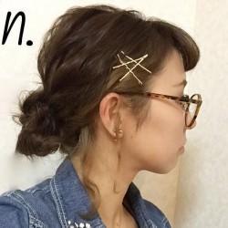 ゴールドのピンが映える☆簡単に出来るまとめ髪TOP