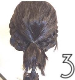 伸ばしかけのボブヘアで作る簡単まとめ髪☆3