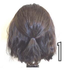 伸ばしかけのボブヘアで作る簡単まとめ髪☆1