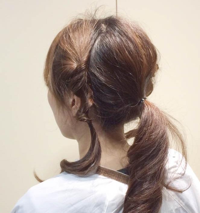 くるりんぱで作る簡単なオシャレなひとつ結びヘアアレンジ☆5