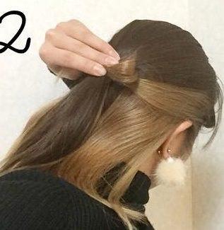 ミディアムヘアで作る!リボンハーフアップ♪2