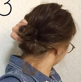 ゴールドのピンが映える☆簡単に出来るまとめ髪3