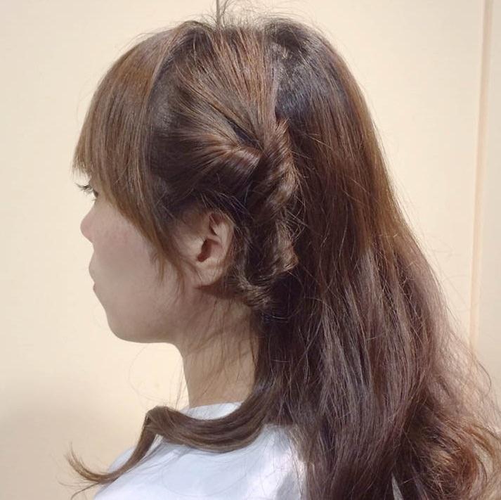くるりんぱで作る簡単なオシャレなひとつ結びヘアアレンジ☆4