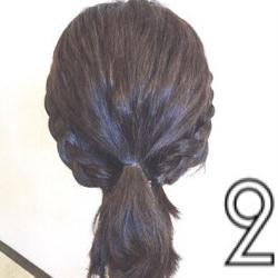 伸ばしかけのボブヘアで作る簡単まとめ髪☆2