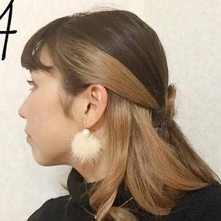 ミディアムヘアで作る!リボンハーフアップ♪4