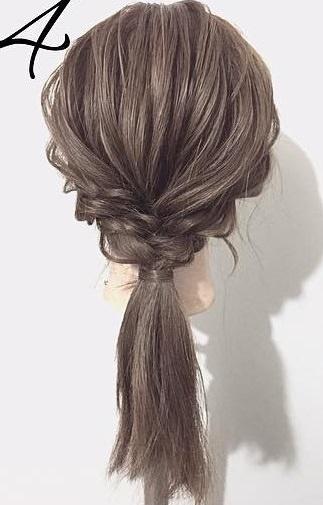 黒髪が大変身!三つ編みとロープ編みで作るローポニーテール☆4