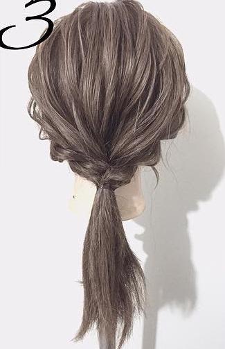 黒髪が大変身!三つ編みとロープ編みで作るローポニーテール☆3