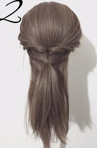 黒髪だから上品に仕上がる☆くるりんぱと三つ編みで作るダウンヘア2