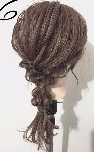 黒髪が大変身!三つ編みとロープ編みで作るローポニーテール☆完成