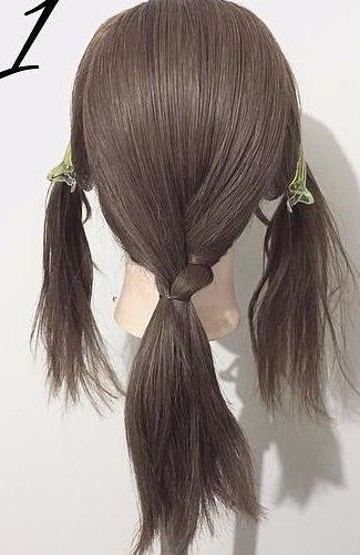 黒髪が大変身!三つ編みとロープ編みで作るローポニーテール☆1