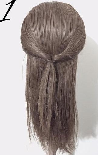 黒髪だから上品に仕上がる☆くるりんぱと三つ編みで作るダウンヘア1
