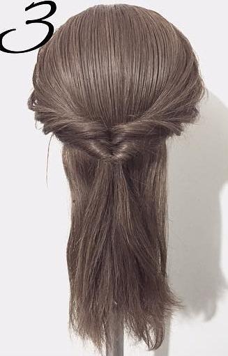 黒髪だから上品に仕上がる☆くるりんぱと三つ編みで作るダウンヘア3