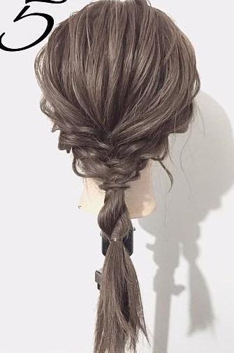 黒髪が大変身!三つ編みとロープ編みで作るローポニーテール☆5