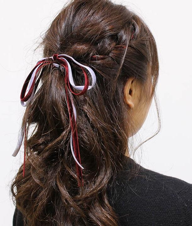 リボンを使ったガーリー編み込みヘア5