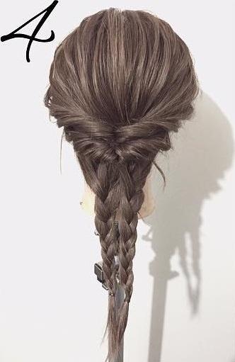 黒髪だから上品に仕上がる☆くるりんぱと三つ編みで作るダウンヘア4