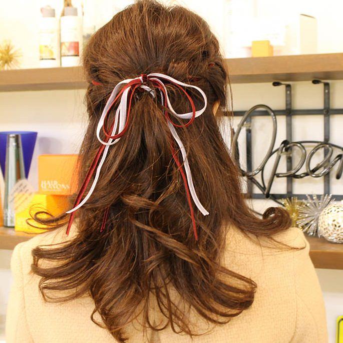 リボンを使ったガーリー編み込みヘアtop