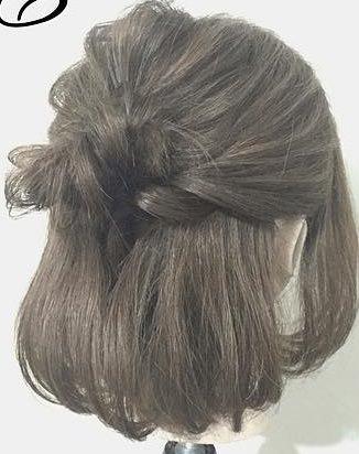 春は軽やかヘアが可愛い!上品で可愛いお団子ハーフアップ完成