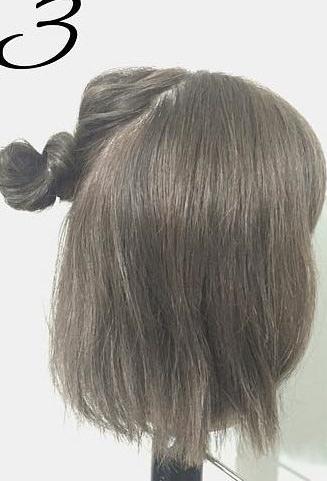 春は軽やかヘアが可愛い!上品で可愛いお団子ハーフアップ3