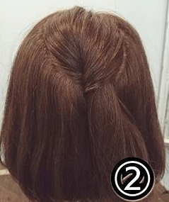 くるりんぱで簡単!ショートヘアのためのハーフアップアレンジ2
