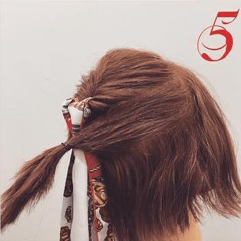 スカーフ×くるりんぱ☆おしゃれガールのボブヘアアレンジ5