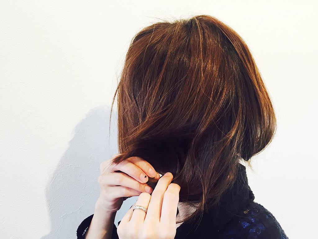 くるりんぱでセミロングの髪をボブ風に☆2