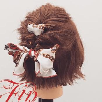 スカーフ×くるりんぱ☆おしゃれガールのボブヘアアレンジTOP