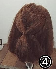 くるりんぱで簡単!ショートヘアのためのハーフアップアレンジ4
