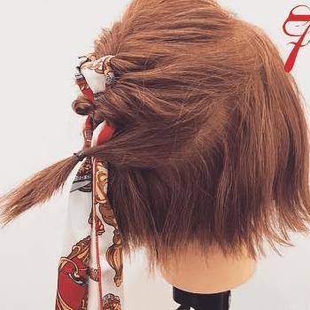 スカーフ×くるりんぱ☆おしゃれガールのボブヘアアレンジ7