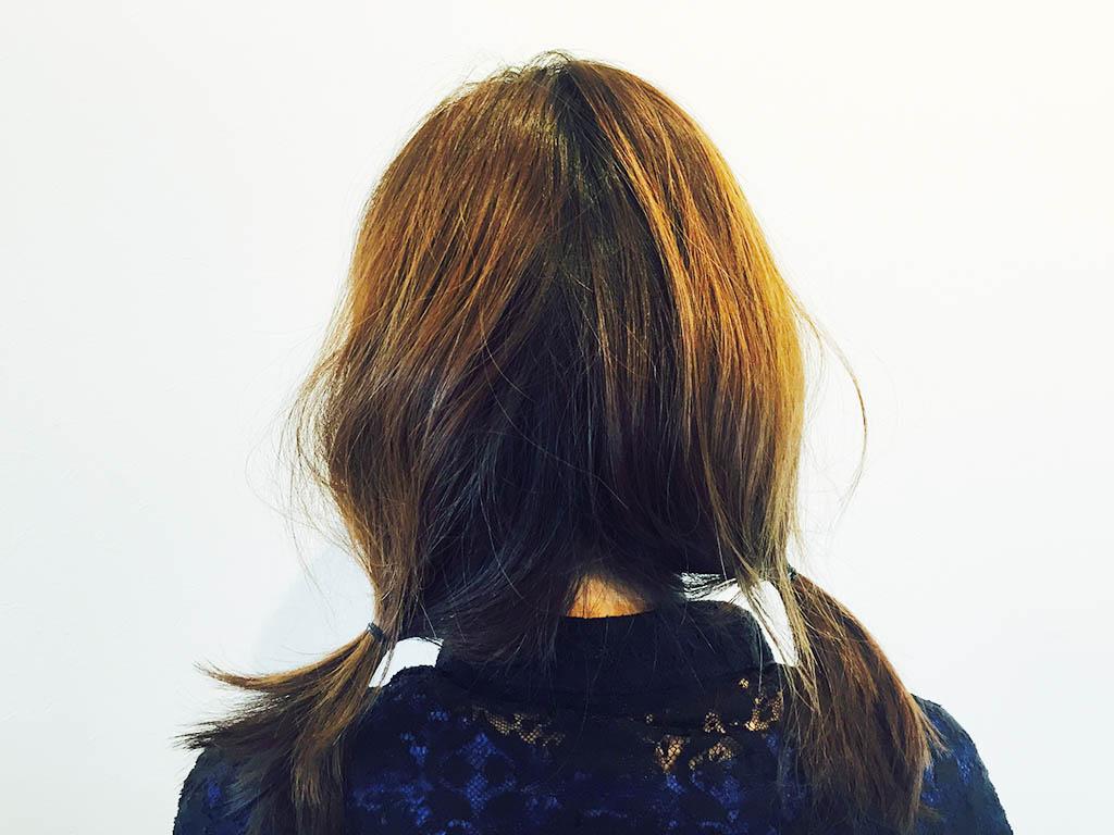 くるりんぱでセミロングの髪をボブ風に☆1