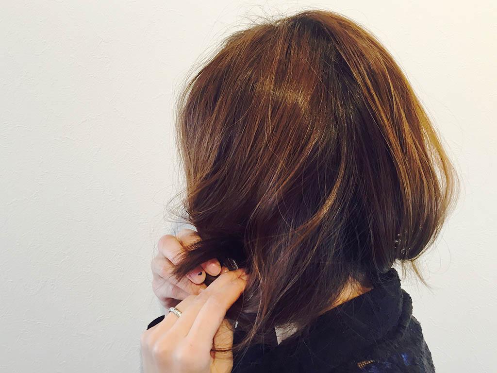 くるりんぱでセミロングの髪をボブ風に☆3