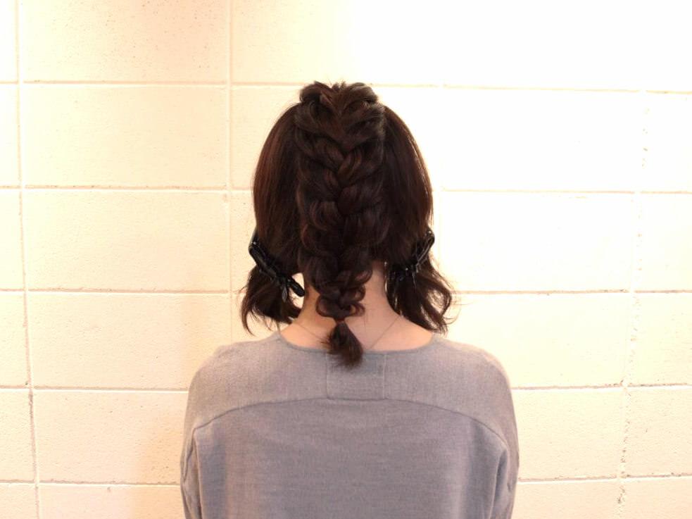伸ばしかけの髪でも出来る編み込みアレンジ3